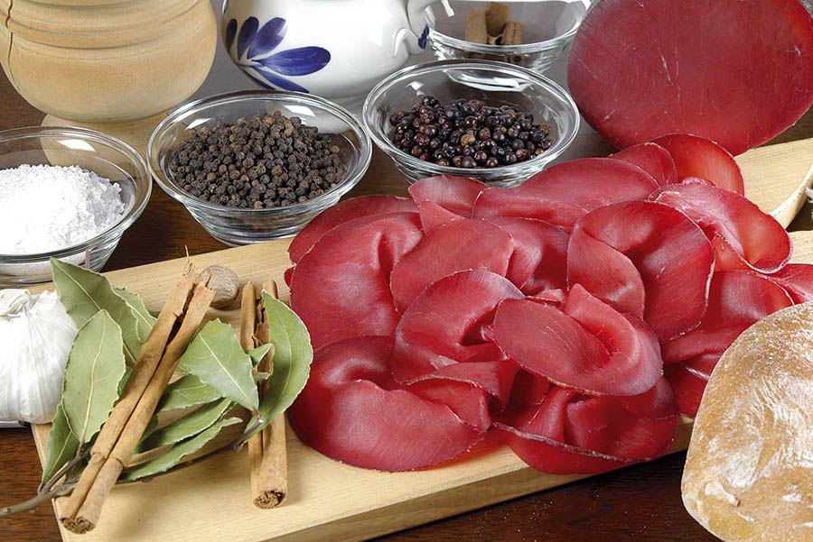 Bresaola local food specialty in Valtellina